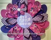 Adorable It's a Flip Flop Kind of Day Wreath Purple's and Pinks Polka Dots and Flowers Coastal Door Decor Beachy Patio Deck Unique