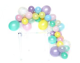 Balloon Garland Kit - Unicorn Rainbow - Pastel Rainbow Balloons - Unicorn Party - Pastel Rainbow Confetti