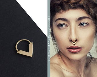 ZARINA 9ct Gold Septum Ring by Elisha Francis | Gold Septum Ring | Gold Nose Ring | Bohemian Septum | Septums | 18/16/14 Gauge Septum Ring