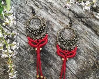 Romantic tribal gypsy macrame earrings. Bohemian macrame jewerly. Handmade macrame jewerly by Bella Marietta