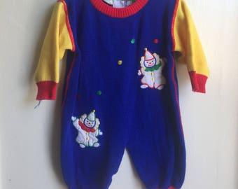 VTG Lightning Bug Baby Sweater Romper Clown Circus Sz 6-9M Red Blue Yellow