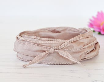 Taupe Silk Ribbon  - hand dyed - nude beige silk ribbon - greige bracelet ribbon - silk ribbon