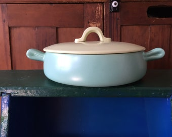 Lovely MCM Casserole, Turquoise and Chartreuse, Fab Organic Shaped Handles, 1950s 1960s, Display, Gift, Kitchen Decor,