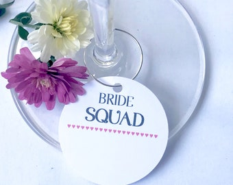 10 x BRIDE SQUAD champagne name cards- Hen Party