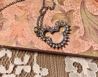 Vintage, Petite Necklace.  'Mr. Mickey' Head  Outlined With Rhinestones.  Silver Tone Chain