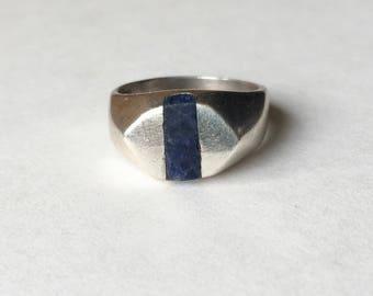 vintage geometric inlaid stone ring, size 8