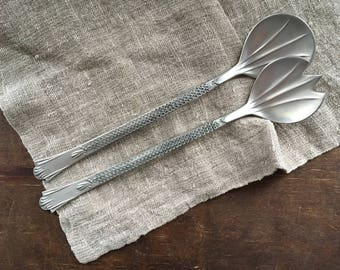 Norwegian vintage salad spoon fork set Pewter salad set Scandinavian design Mid century salad serving cutlery