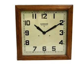 Hammond Synchronous Bank School Wall Clock Electric