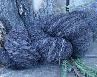Handspun Natural Black and Silver CVM/Corriedale/Wenslydale Yarn