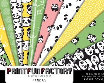 Panda digital paper - Panda black and white, green, yellow background paper  - 12 digital papers (#210) INSTANT DOWNLOAD