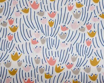 "Designed by ELIZABETH OLWEN - 'Tulip' on White, Multi-coloured. Cloud 9 Fabrics. Organic cotton poplin. Half Metre/19.5"""