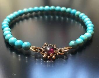Sleeping Beauty Turquoise Garnet Bracelet With 9k Rose Gold  Garnet Clasp