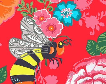 Bee on a floral greeting card by Kate Cooke