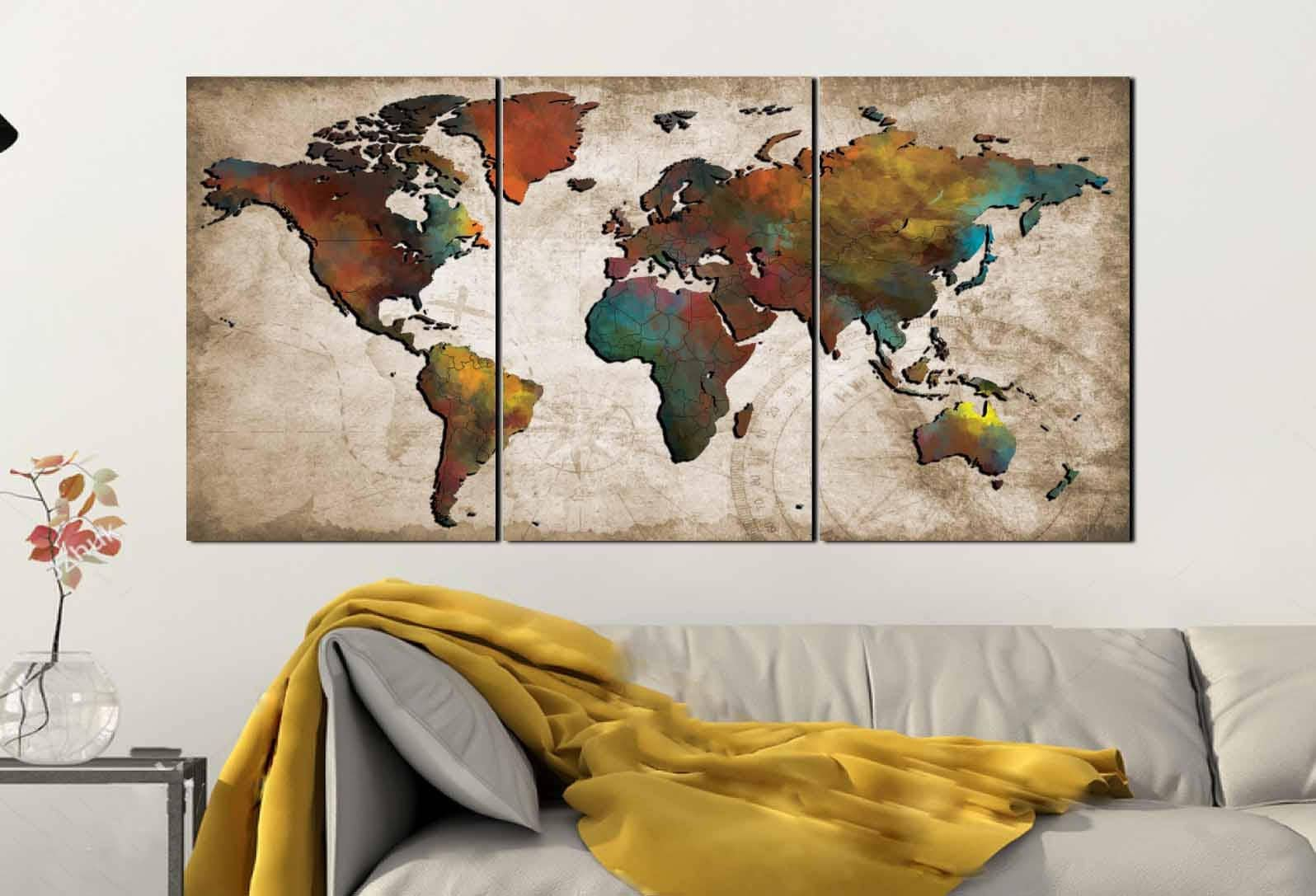 world map wall artabstract push pin mapcolorful world mapworld map posterworld map artworld map maptravel map posterart