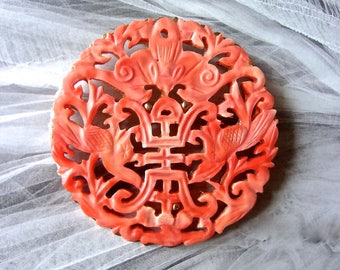 HOBE'  Faux Coral Asian Brooch-Pendant, Angel Skin Carved Celluloid, Vintage