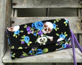 Skull and Roses Wallet, Skull Wallet, Skull Emmaline Necessary Wallet, Skull Roses NCW Wallet, Iphone Wallet - rockabilly wallet