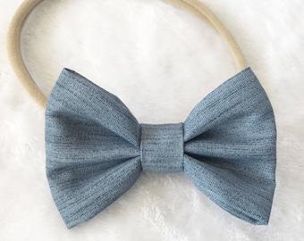 Chambray hair bow. Chambray bow. Pig tail bows. Hair bow. Denim hair bow. Hair accessories. Nylon headband. Baby headbands.