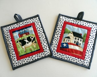 Patriotic pot holders in red white and blue, Americana, hanging pot holders, hot pads, trivets, hot mats, set of 2, quiltsy handmade