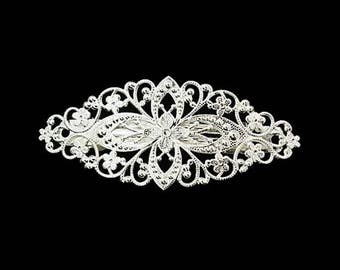 3 hair clips in silver tray customize filigree