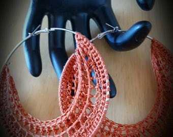 Rust Color  Crochet Hoop Earrings 70 inches