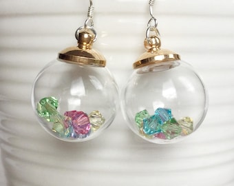 Crystal filled Glass vial, jar, bottle Earrings; Spring Earrings; Spring Accessories