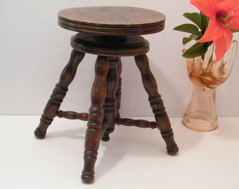 High Quality Childs Wooden Piano Stool, Vintage Adjustable Height Victorian Style Swivel  Chair For Small Child Or
