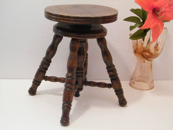Childs Wooden Piano Stool Vintage Adjustable Height Victorian