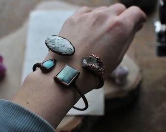 raw bracelet, Druzy agate bracelet, electroformed bracelet, electroformed jewelry, earthy jewelry, bohemian gypsy, druzy amethyst
