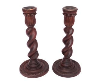 Vintage Barley Twist Candle Holders, Twisted Wooden Candle Stick, Pair of Tall Wood Candlestick, Turned Wooden Candle Holders