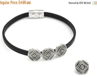 ON SALE 5MM Ethnic Dots Ii Slider - Qty. 4 - Antique Silver