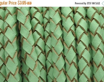 """30% OFF 3MM Braided Bolo European Leather Cord - Mint Green - Qty. 2ft24"""""""