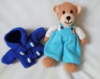 Teddy, Hand Knitted Bear, Teddy Bear, Handmade Bear, Bear in Duffle Coat, Soft Toy, Baby Gift, Child Gift