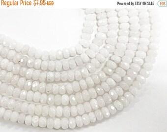 25% OFF 4mm Opal White Jade Faceted Rondelle Gemstone Bead strand 15 Inch Full Strand, 133 Beads, White Jade 4mm x 3mm - SJA197