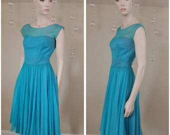 Beautiful Vintage 50s teal dress by Jean of California