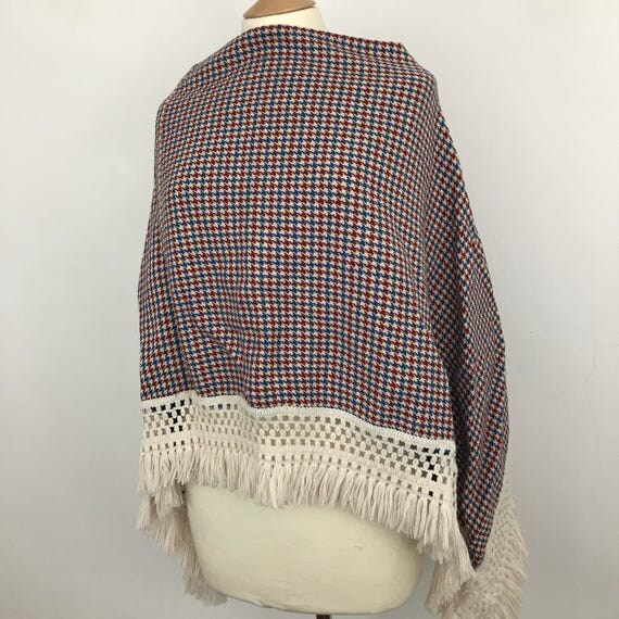 Vintage tweed cape checkered poncho boho acrylic wool fringed 1970s Mod cape festival cover up hippie Miss Marple tweed run
