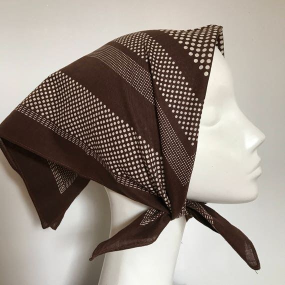 Vintage cotton scarf square brown spotted 1950s rockabilly headscarf turban scooter girl Mod Twiggy 1940s scarf