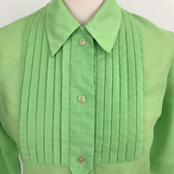 Vintage blouse 1960s neon green shirt long collar Blouse tuxedo style pleats lime green top UK 10 12 mod 60s 70s