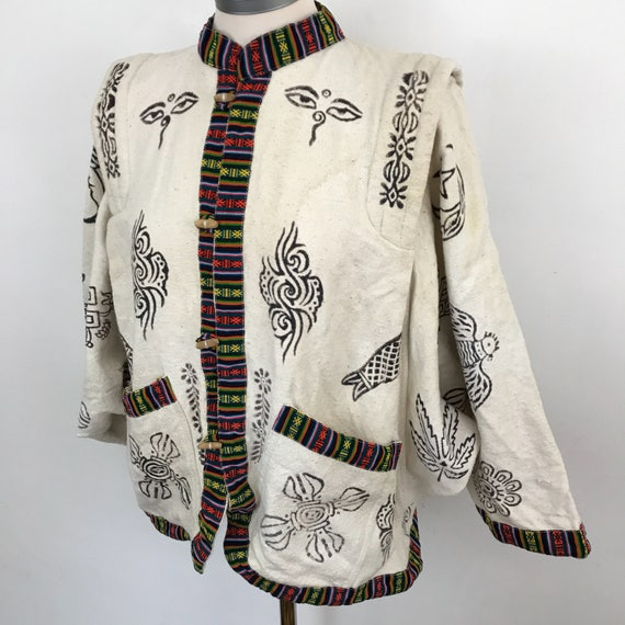 Vintage jacket Indian cotton ecru shirt blouson cotton stencilled eyes nu wave jungle design batwing top cream ethnic toggle UK 10 12 coat