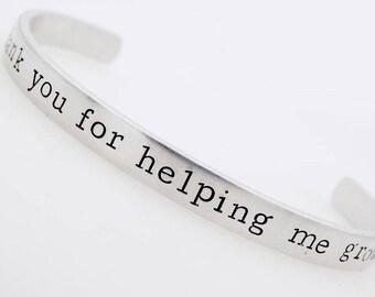 Teacher Gift, Adjustable , Handstamped Bracelet, Teach, Inspire, Enrich, Love, Kindergarden, Preschool, early childhood education gift
