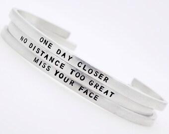 Long distance Love, Long distance relationship, Long distance jewelry, long distance gift, long distance friend, adjustable handstamped cuff
