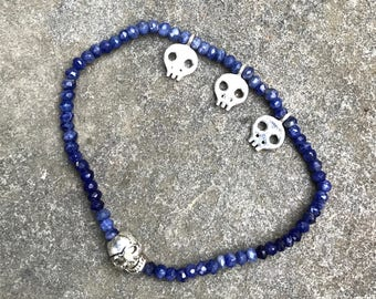 Bracelet: Lapis Lazuli With Sterling Skulls Stretchy Bracelet