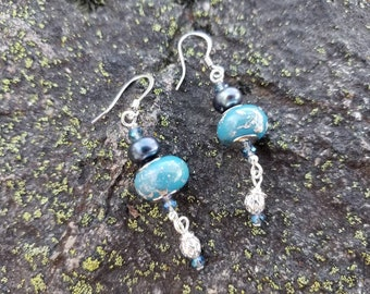 Blue and Silver Lampwork Glass Earrings, Black Pearl Beaded Earrings, Blue Dangle Earrings