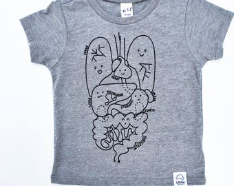 Human Body Children's tee, Anatomy tshirt, back to school clothes, back to school shirt, science t-shirt, funny kids clothing, hipster kids
