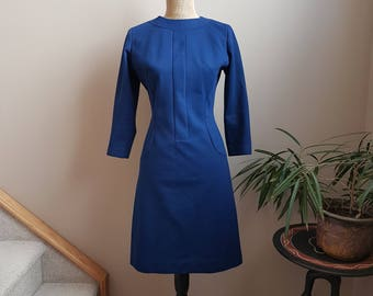 La Gaye Parisienne Sydney Blue Dress. Dress 1960s. Crimplene Dress.