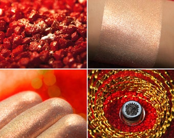 Eyeshadow: Crystals Fire Agate - Jewels Crystals. Pink-gold shimmering eyeshadow by SIGIL inspired.