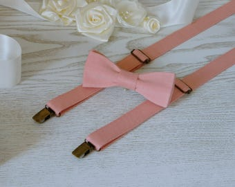 SUSPENDERS and BOWTIE SET Coral  Wedding Suspenders  Men's Suspenders  Linen Suspenders  Groomsmen Accessory  Wedding Accessory