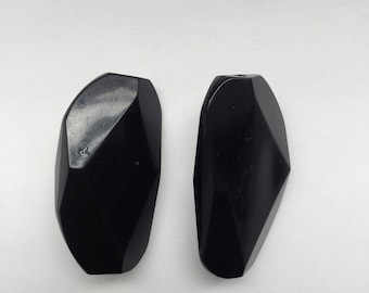 Black Clip on rock earrings