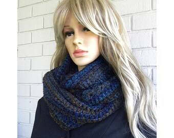 Winter Infinity Scarf with Hat, Warm Winter Hat and scarf set, Blue and brown Stripes Acrylic Yarn Scarf, Gift for Women,