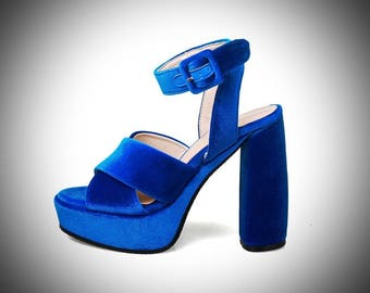 Dana /Ultimate Luxury Blue Velvet Sandals/ Luxury High Heels /Luxury Gift For Her/Luxury Shoes Fashion Accessory Women