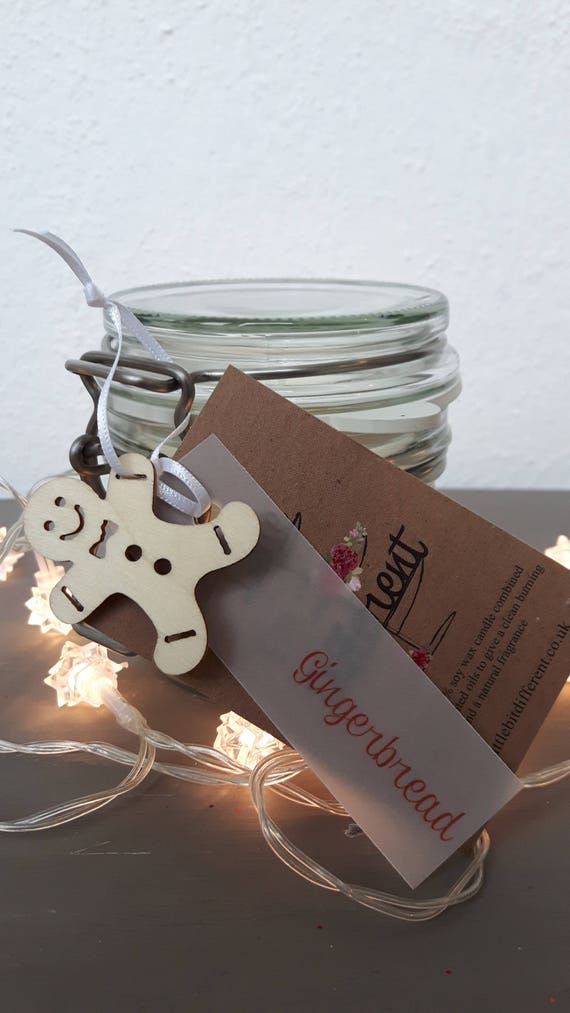Gingerbread scented, eco friendly, vegan soy wax candles in reusable Kilner style jars.